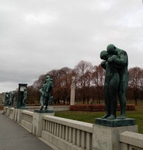 Sculptures on the Bridge in Frogner park